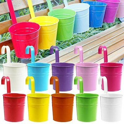 10 Colors Metal Iron Flower Pot Hanging Balcony Garden Plant Planter Home Decor