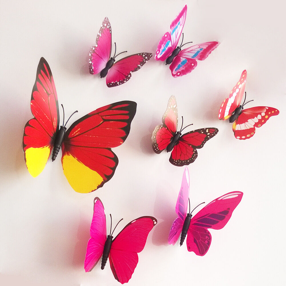 12pcs 3d diy butterfly art decal home decor pvc for Bricolage mural