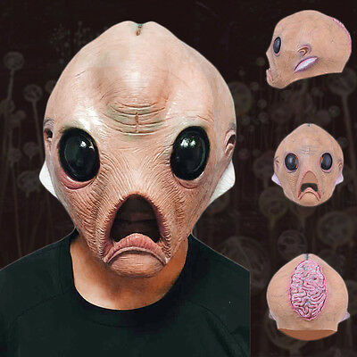 Luminous Latex Alien ET Mask Panto Fancy Party Cosplay Halloween Scary Costume - Et Mask Costume