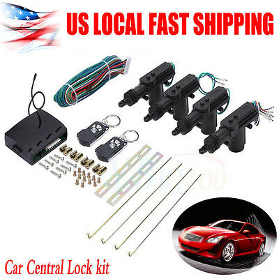 Universal Car Central Power Door Lock   Unlock Remote Kit Keyless Entry 4 Doors