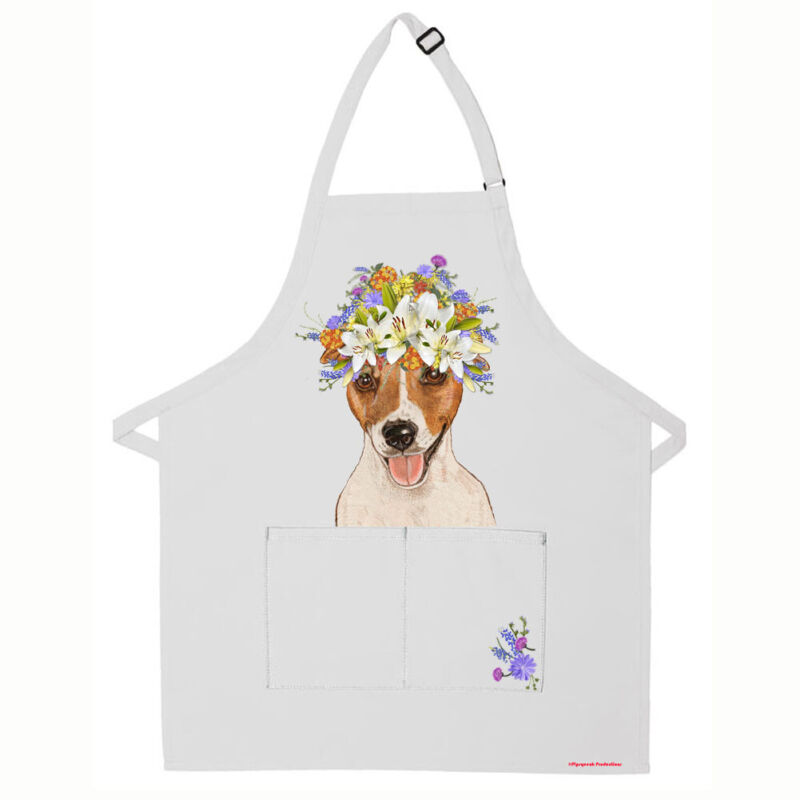 Jack Russell Terrier Dog Apron Two Pocket Bib Apron with Adj Neck