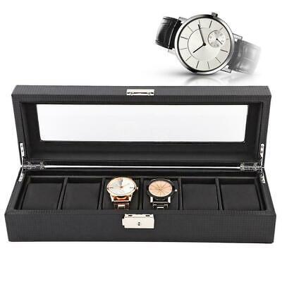 Carbon Fiber Watch Box Storage Chest Case with Lock & Key 6 Watches New