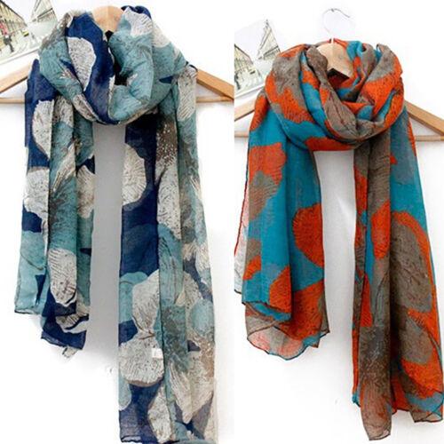 Women Ladies Long Cotton Voile Floral Print Scarf Neck Wrap