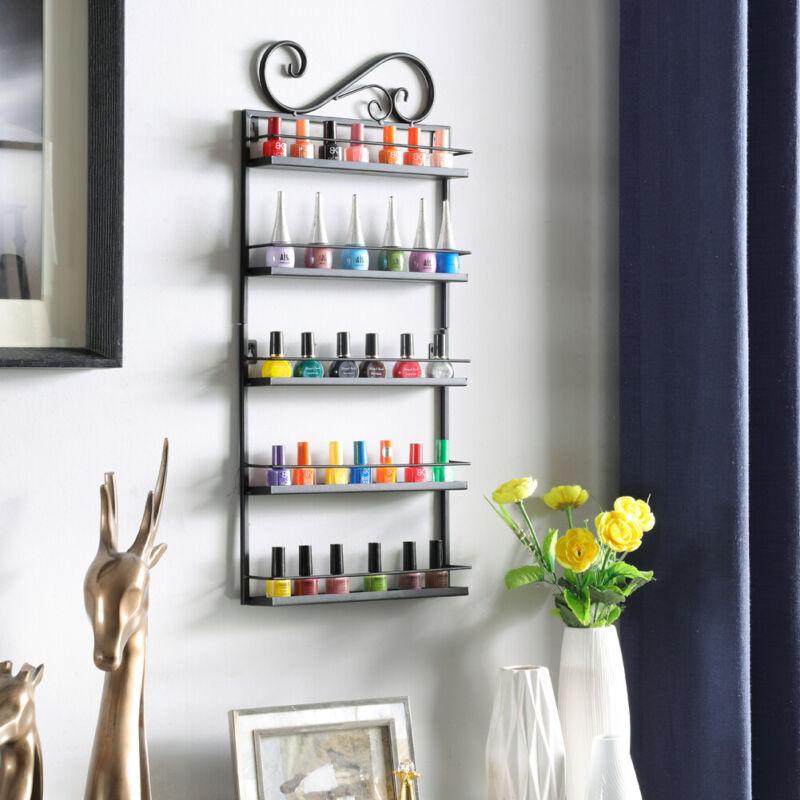 5 Tier Nail Polish Display Metal Rack Wall Mount Organizer Makeup Shelf Holder