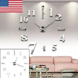 Large Wall Clock Modern 3D Acrylic Mirror Sticker Big Number Watch DIY Decor US