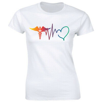 Nurse Heartbeat T-Shirt for Women I Love Nursing Medical Student RN Tee Shirt