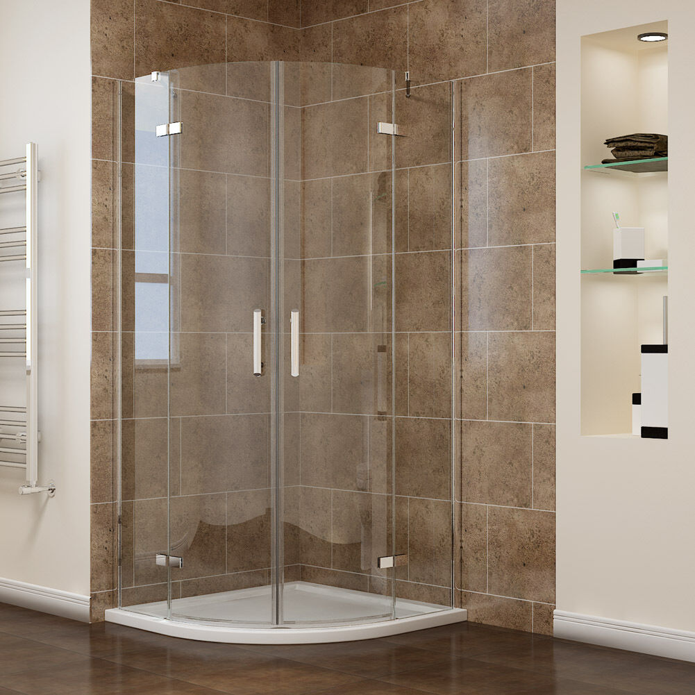 Frameless quadrant shower enclosure 6mm pivot hinged for Frameless corner shower enclosure