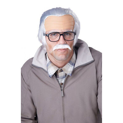 Rude Grandpa Wig And Mustache Bad Johnny Knoxville Jackass Movie Bald - Old Man Wig And Mustache