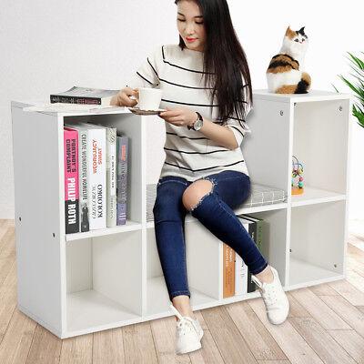 Multi-functional Wooden 6 Grids Storage Shelf Bookshelf Bookcase Cube Cabinet US ()