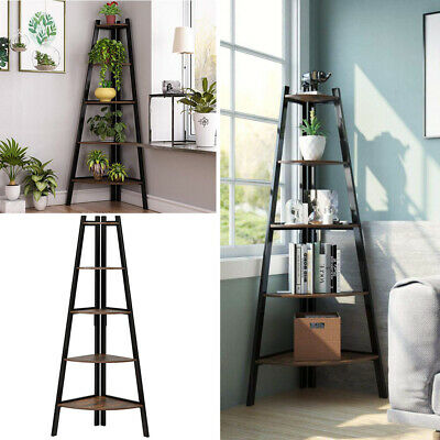 Stylish Ladder Shelving Unit 5 Tier Leaning Bookcase Storage Plant Stand Display