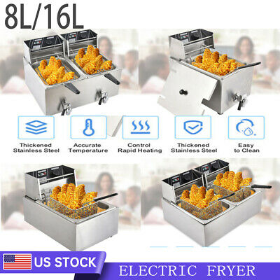 8l 16l Electric Deep Fryer Tank Commercial Countertop Fry Basket Home Restaurant