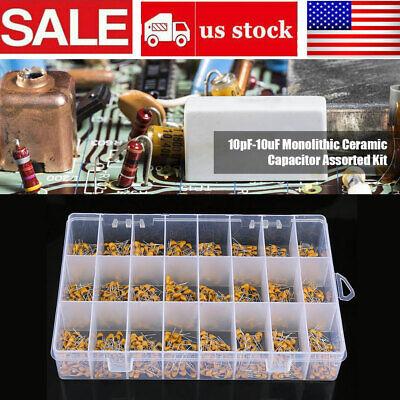 1200pcsset 24 Values 50v 10pf-10uf Monolithic Ceramic Capacitor Assorted Kit Us