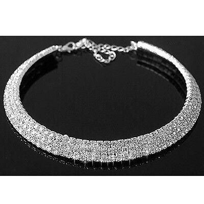 Fashion Women Crystal Pendant Charm Chain Choker Chunky Statement Bib Necklace