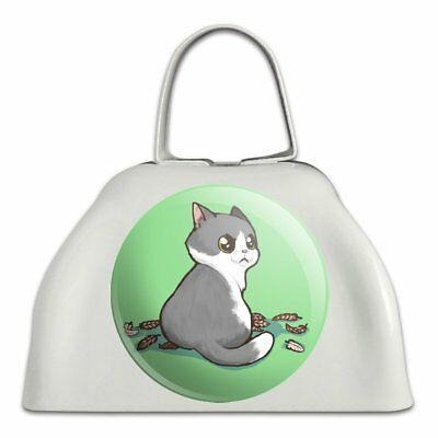Kawaii Cute Cat with Bird Feathers White Metal Cowbell Cow Bell Instrument