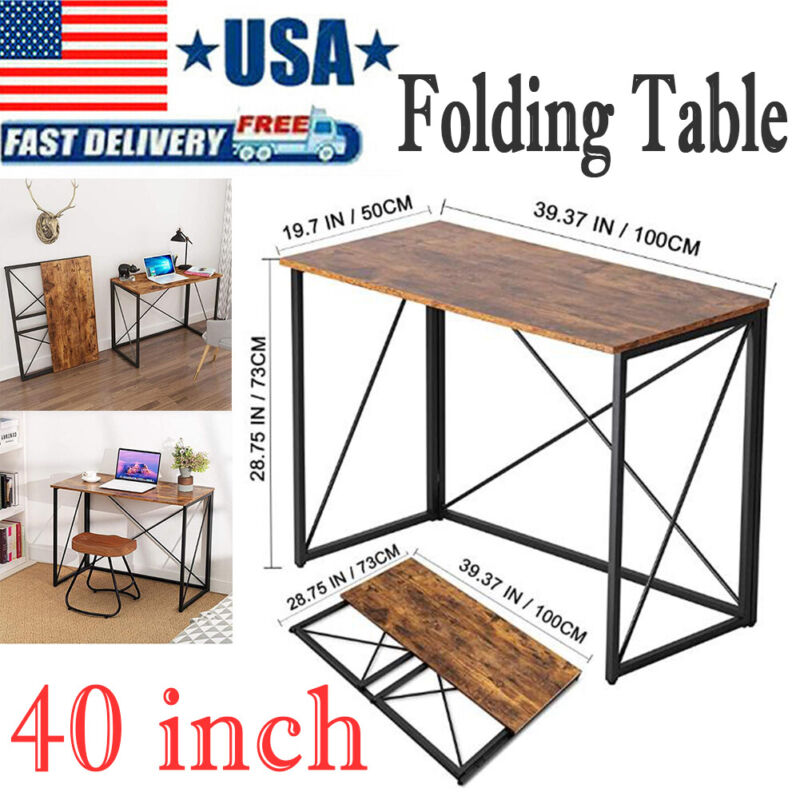 Folding Table Fold-in-Half Computer Desk , Rectangle Laptop Table For Small Room
