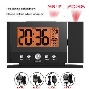 2016 New Digital Snooz Alarm Clock Desk Wall Projector Projection + Adaptor Plug