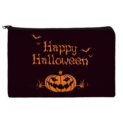 Happy Halloween Holiday Pumpkin Bats Makeup Cosmetic Bag Organizer Pouch](Halloween Bat Makeup)