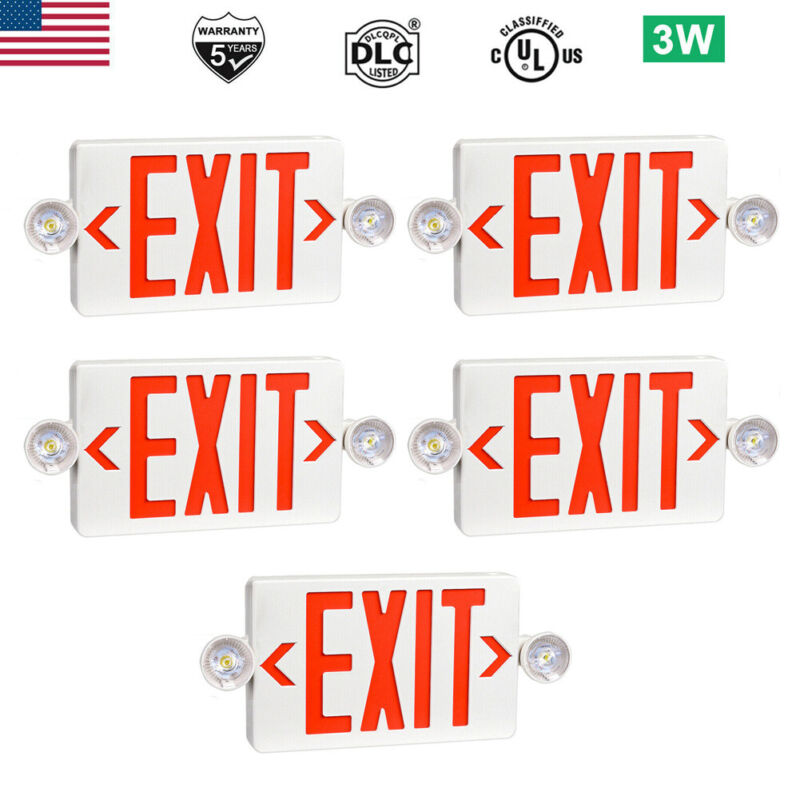 5 Pack LED Exit Sign Emergency Light – Hi Output RED Compact Combo UL-Listed