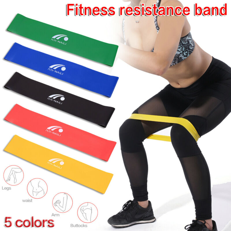 5 Resistance Bands Booty Fitness Gym At Home Exercise Yoga Workout Cross Fit