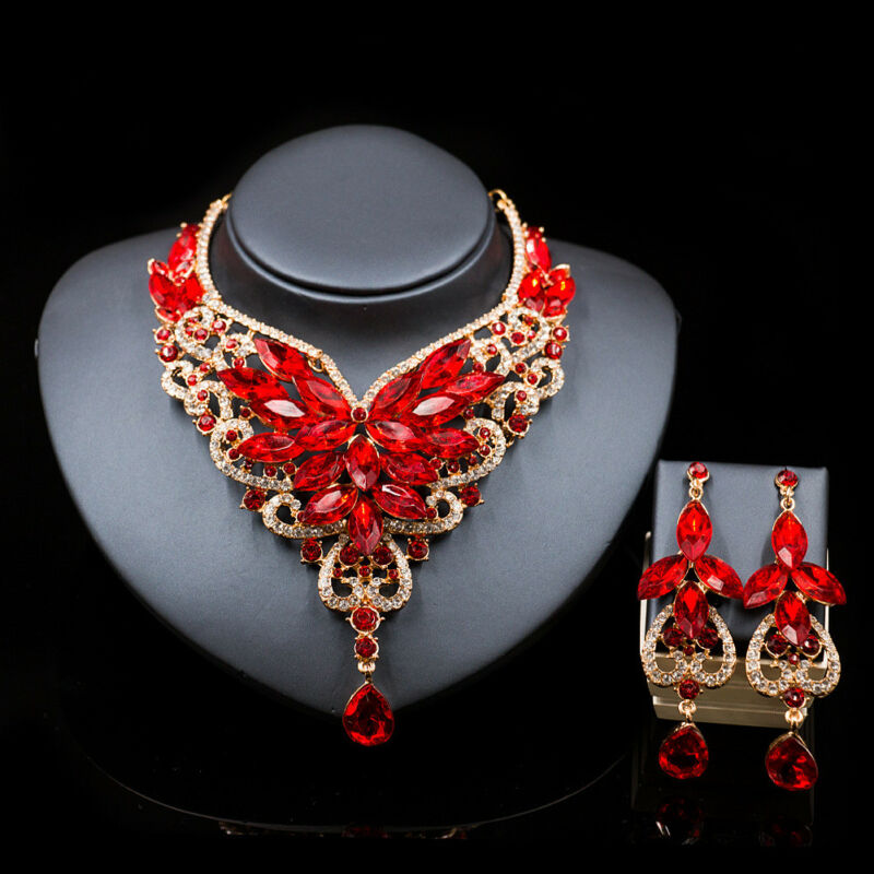 Fashion Crystal Wedding Jewelry Sets Brides Prom Party Costume Necklace Earring