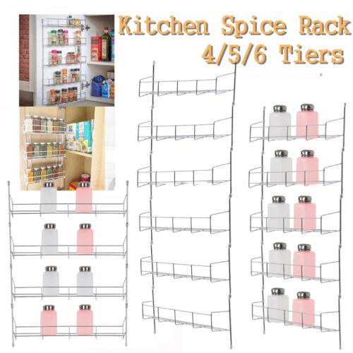 4/5/6 Tiers Wall Metal Spice Rack Organizer Jar Shelf For Ca