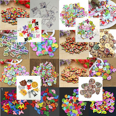 50Pcs Mixed Animal Flower 2 Holes Wooden Buttons Sewing Craft Scrapbooking - Wood Butterfly