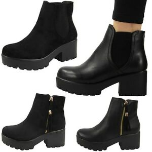 NEW-WOMENS-LADIES-MID-HEEL-BLOCK-CHUNKY-PLATFORM-CHELSEA-ANKLE-BOOTS-SHOES-SIZE