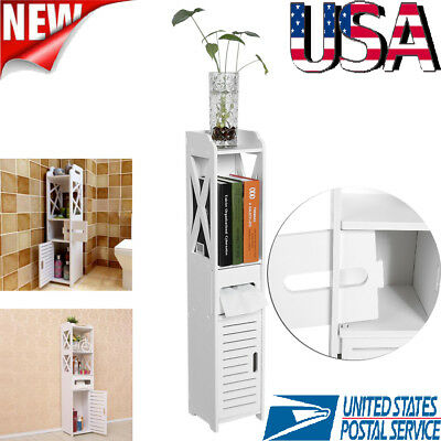 Bathroom Storage Cabinet Tall Towel Organizer Wood Tower Shelves Cupboard White