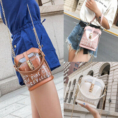 Women PVC Clear Chain Crossbody Bag Tote Transparent Bucket Shoulder Bag Purse