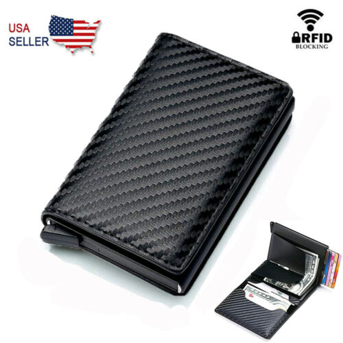 RFID Blocking Leather Mens Wallet Carbon Fiber Purse Slim ID Credit Card Holder Clothing, Shoes & Accessories