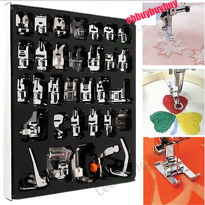 1 Set 32 Pcs Domestic Sewing Machine Foot Feet Snap On For Brother Singer Janome