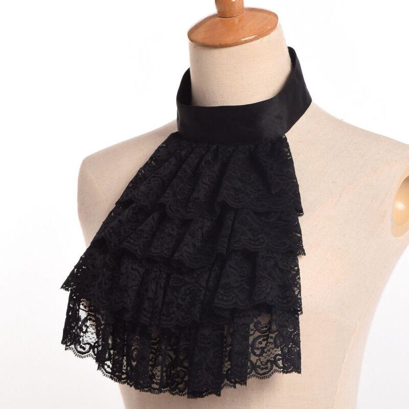 Edward Detachable Lace Collar Black Ruffle Jabot  Victorian Steampunk Collar