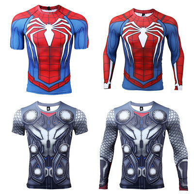 Superhero Mens Compression Gym Sport T-shirt Spiderman Thor Cosplay Gym Tops - Male Superhero