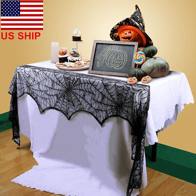 (Halloween Lace Cobweb Fireplace Spiderweb Mantle Cover ScarfCloth Party DecorUS!)