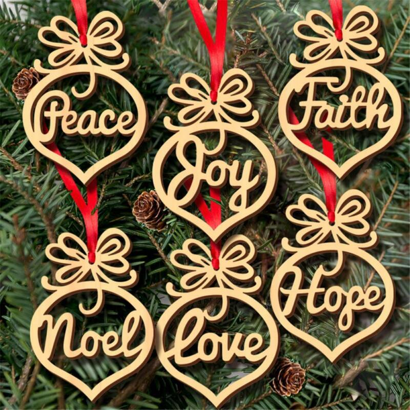 6PCS Christmas Tree Wooden Hollow Hanging Ornaments Decorati