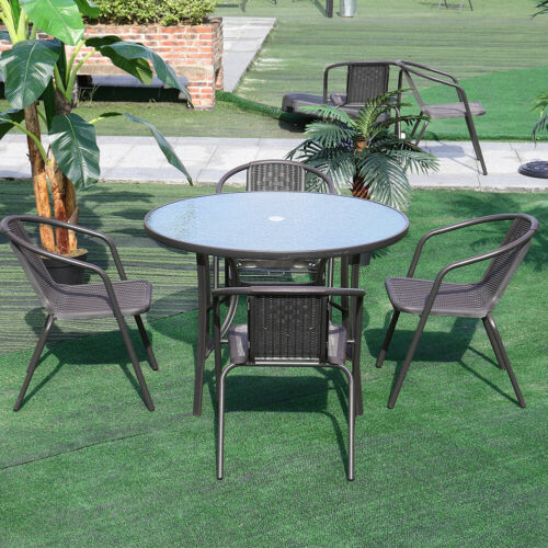 Garden Furniture - Garden Furniture Patio Set Round Table and Stacking Chairs Parasol Hole 4 Seater