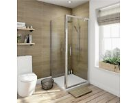 Pivot Door Shower Enclosure Frosted 6mm Glass Screen+Side Panel