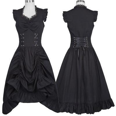 Damen Edwardianisch Vintage 1900 20er Swing Viktorianisch Gothic Steampunk Kleid ()