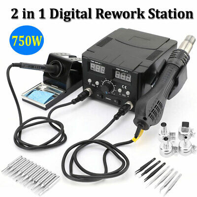2 In 1 Soldering Iron Hot Air Desoldering Rework Station Smd Digital Solder 110v