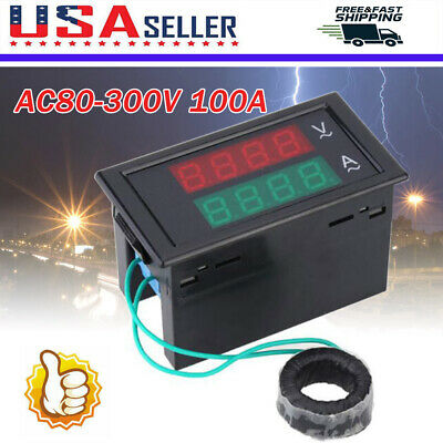Ac 80-300v Lcd Digital Voltmeter Ammeter Volt Amp Power Kwh Panel Meter 100a Us