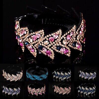 Womens Crystal Rhinestone Hair Clips Claw Clamp Bun Net Ponytail Holder Headwear