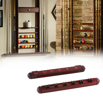 Stained Wood Billiard Wall Mount Professional Cue Rack Accessories 6 Pool Holder