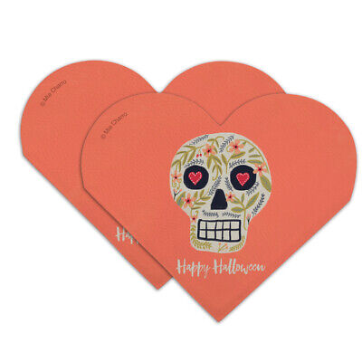 Happy Halloween Bookmarks (Happy Halloween Fun Floral Skull Heart Faux Leather Bookmark - Set of)