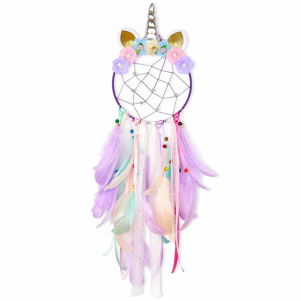 Unicorn Dream Catcher Purple Flower Feather Pendant Wall Hanging for Car Home Collectibles