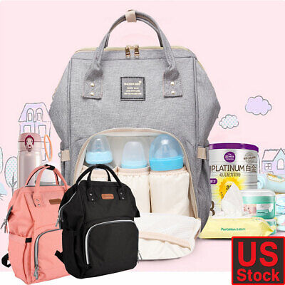 Fashion Mummy Diaper Bag USB Port Baby Nappy Travel Backpack Bottle Hold 3 Color