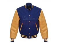 Royal blue Varsity Wool Letterman Jacket With yellow Real Leather Sleeves