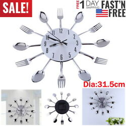 Stainless 12.4 Home Decorat Cutlery Kitchen Utensil Spoon Fork Clock Wall Clock