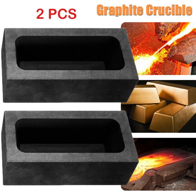 2X 85oz Large Graphite Ingot Mold Melting Casting Refining Scrap Bar Crucible BE