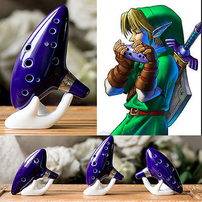 12 Hole Ocarina Ceramic Alto C Legend Zelda Ocarina Flute Blue Instrument USA