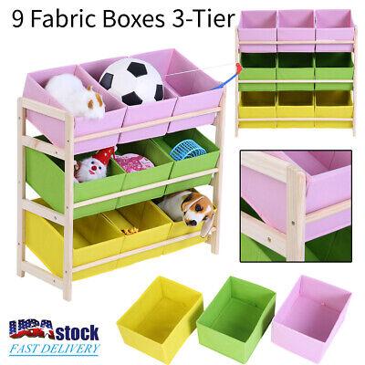 3-Tier Kids Baby Toy Wooden Shelf Storage Rack Organizer Holder + 9 Fabric (Kids Toy Shelf)